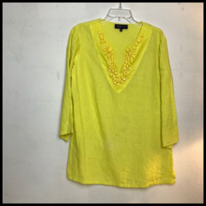 Bright Yellow Linen Beaded Tunic Top Size L
